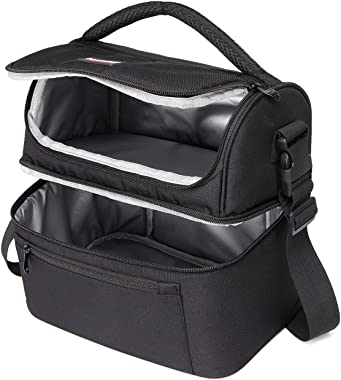 Lunch Bag,VASCHY Insulated Lunch Box Leak-Proof Cooler Bag in Dual Compartment Lunch Tote for Men, Women, 14 Cans