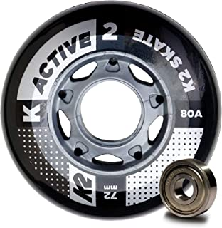 K2 Skate Active 80A 8 Wheel Pack with ILQ 5 Bearing & Alum Spacer, 72mm,