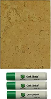 """Instrument Clinic Premium Natural Sheet Cork 1/16"""" with 3 Pack of Cork Grease"""