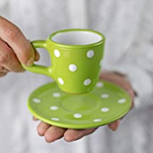 City to Cottage Handmade Lime Green and White Polka Dot Ceramic 2oz/60ml | Espresso Cup and Saucer, Unique Designer Pottery Gift for Coffee Lovers