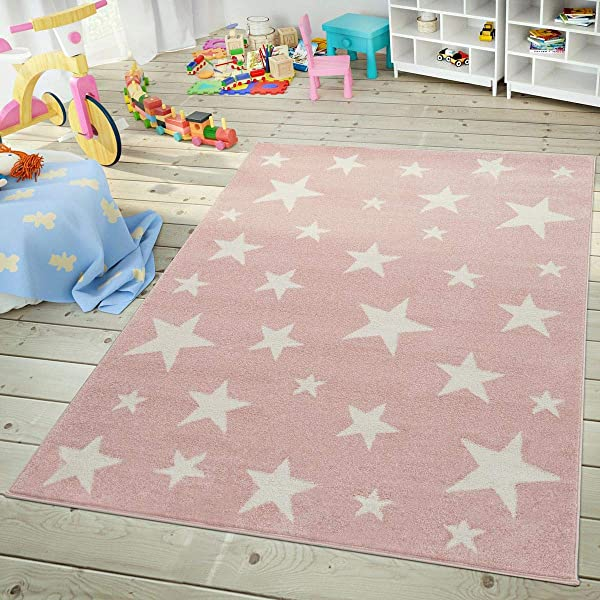 Paco Home Modern Short Pile Children S Rug Star Design 儿童房粉彩粉色白色尺寸 200x280 Cm