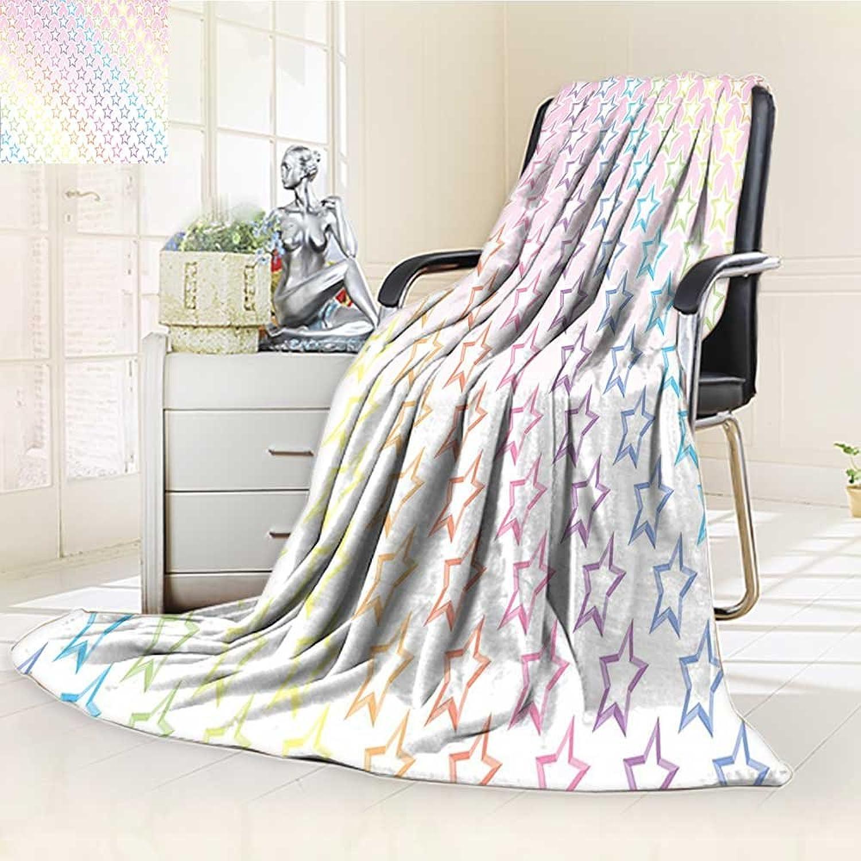 YOYI-HOME Lightweight Summer Duplex Printed Blanket,Rainbow colors Galaxy Milky Way Theme Teen Girls Room Nursery Decorative Print Pink Multi Bed,Sofa, Air-Conditioner Room  W59 x H39.5