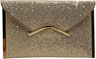 Wiwsi Fashion Ladies Shimmer Glitter Trim Chain Evening Party Clutch Bag Handbag