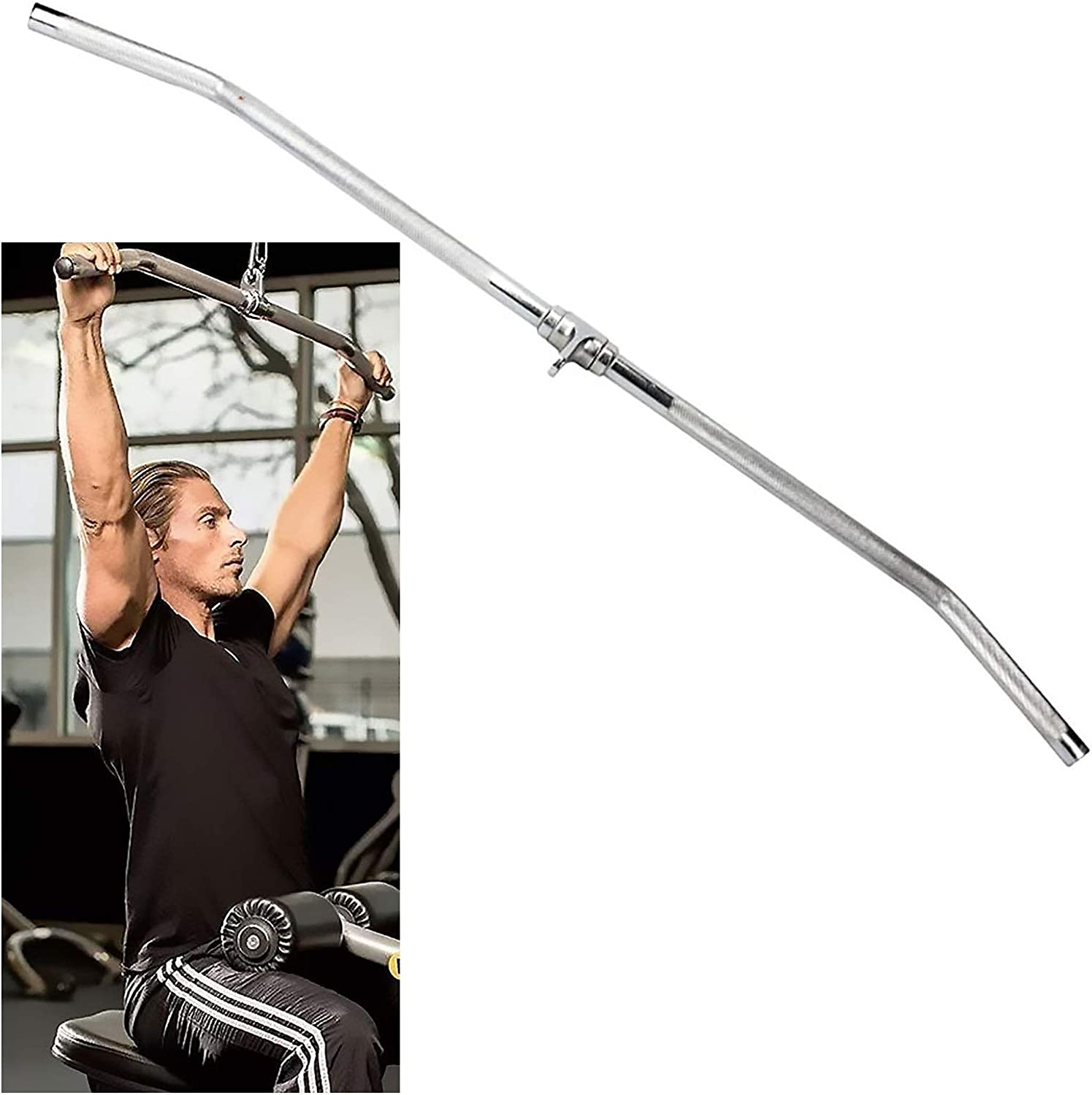 YIXUAN FITNESS LAT Pull Down Bar Cable Attachment 48 inch Tricep