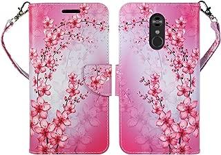 ZASE Design Cover for LG STYLO 4 Protective Case, LG Stylo 4 Plus Wallet Case Premium PU Leather Flip Folio w/[Kickstand] ID Card Slot Wrist Strap (Pink Cherry Blossom Flower)