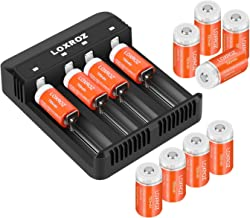 LOXROZ RCR123A Rechargeable Batteries 3.7V (12 Counts) and Battery Charger Compatible with Arlo VMC3030 VMK3200 VMS3330 3430 3530 Wireless Security Camera
