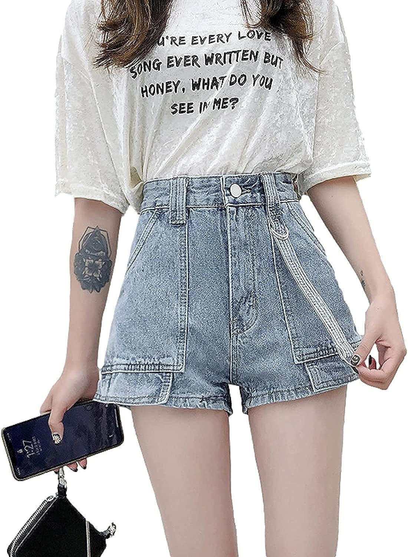 CHENX1NN Ladies Summer High Waisted Denim Shorts Fashion Ripped Holes were