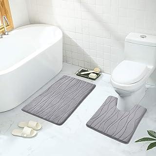 Buganda Memory Foam 2 Pieces Bath Rugs Set - Soft Non-Slip Thick Bath Mat and Contour Toilet Rug, Absorbent Washable Bathr...