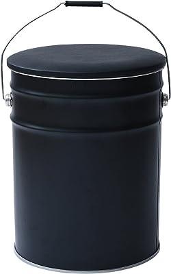 山善 収納 スツール 幅31×奥行31×高さ39cm ペール缶 北欧 取っ手・クッション付き 床に傷がつきにくい 完成品 ブラック CS-31(ABK)