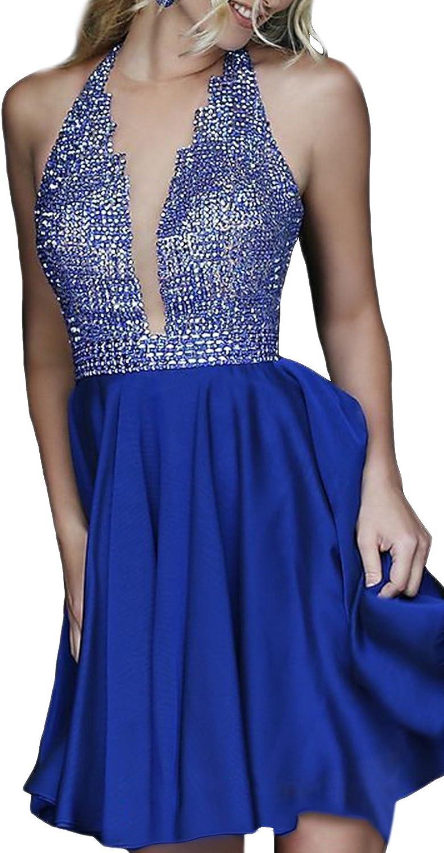 Homdor Women Short Beading Prom Evening Dress Sleeveless Deep V Neck Ball Gown