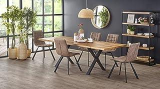 Sellon24/Signal Table de salle à manger extensible 160 (250 cm) avec plateau rustique en chêne clair noir