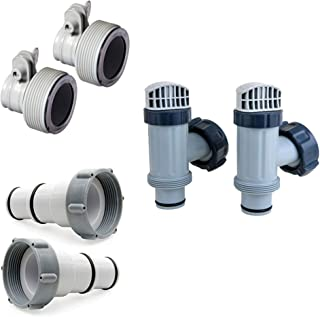 Intex Replacement Hose Adapter A & B w/Collar (Pair) & Plunger Valves (2 Pack)