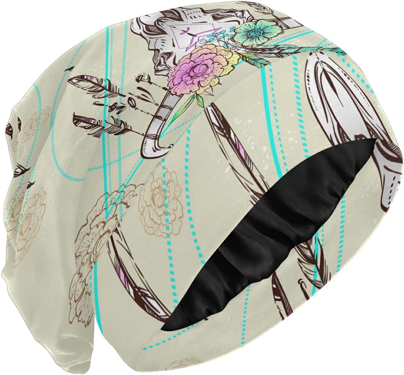 PUXUQU Gorro de dormir con diseño de calavera de toro nativo americano con flores para dormir y cabeza para mujer y niña