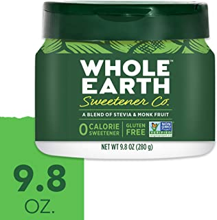 WHOLE EARTH SWEETENER Stevia Leaf and Monk Fruit Sweetener, Erythritol Sweetener, Sugar Substitute, Zero Calorie Sweetener, 9.8 Ounce Jar