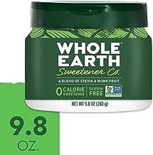 WHOLE EARTH SWEETENER Stevia Leaf and Monk Fruit Sweetener, Erythritol Sweetener, Sugar Substitute, Zero Calorie Sweetener, 9.8 Ounce Jar