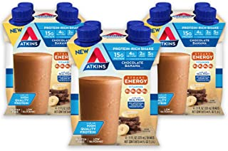 Atkins Chocolate Banana Protein-Rich Shake. With B Vitamins and High-Quality Protein. Made with Real Fruit. Keto-Friendly and Gluten Free. (Pack of 12 Shakes)