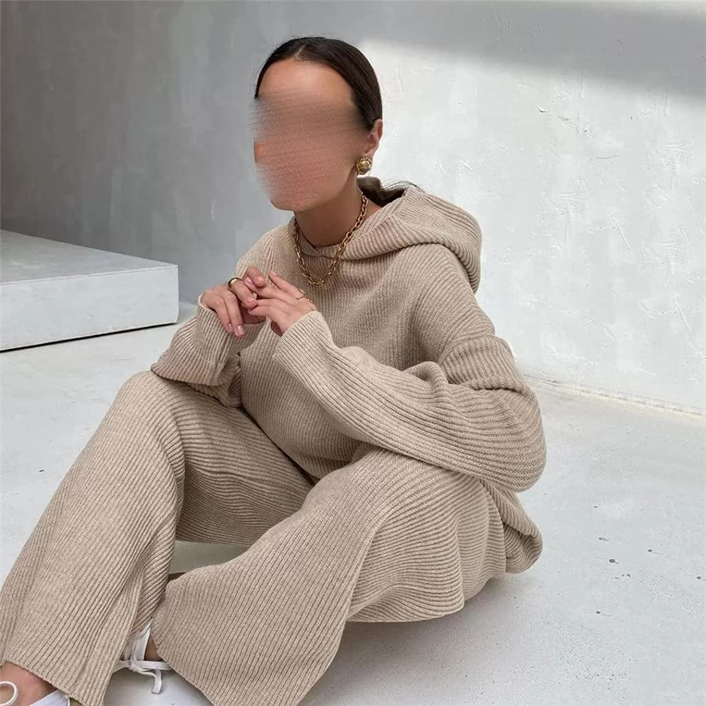 ASDFGH 2-Piece Set Autumn and Winter Women's Casual Sports Sweater Suit Two-Piece Suit (Color : B, Size : XL Code)