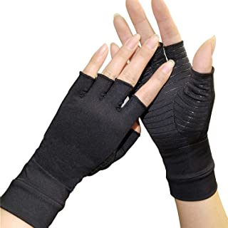 Arthritis Compression Gloves - Copper Gloves for Arthritis Hand Pain,Rheumatoid, Swelling and Computer Typing for Women and Men (1 Pair) (M)