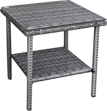 Patio PE Wicker Side Table Outdoor Resin Rattan Glass Top Square End Table with Two Shelves, Gray