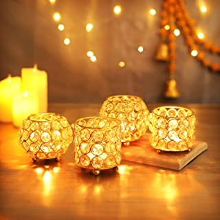 Tied Ribbons Crystal Tealight Candle Holder for Home Décor Tealight Candle Holder for Deepawali - Diwali Decorations and D...