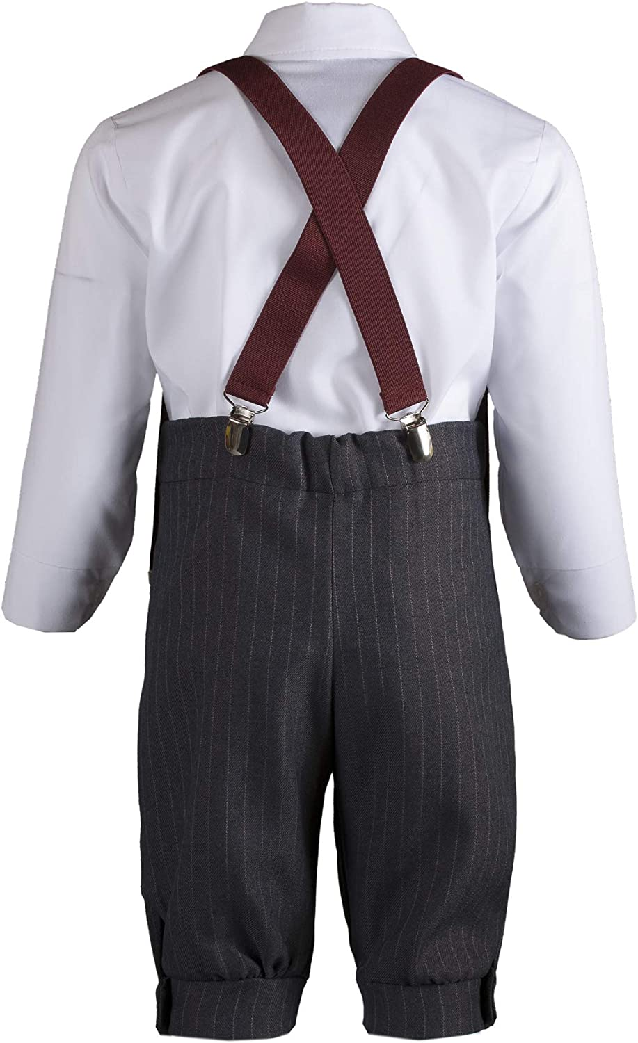 Tuxgear Boys Grey Knicker Set Burgundy Rose Bow Tie Suspenders and Pageboy Cap