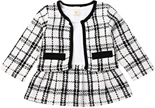 Toddler Baby Girl Clothes Long Sleeve Cardigan Jacket Coat Top Plaid Tutu Skirt Party Dress Fall Outfit Set