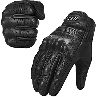 ILM Goatskin Leather Motorcycle Motorbike Powersports Racing Gloves Touchscreen for Men and Women Black (XL, Black Perforated)
