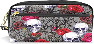ALAZA Rose Skull Pencil Case Zipper PU Leather Pen Bag Cosmetic Makeup Bag Pen Stationery Pouch Bag Large Capacity