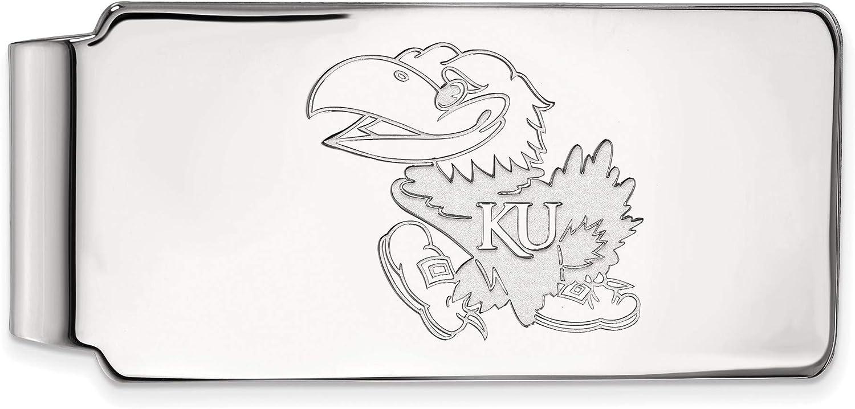 Bonyak Jewelry Sterling Silver RhPlated LogoArt University of Kansas Money Clip