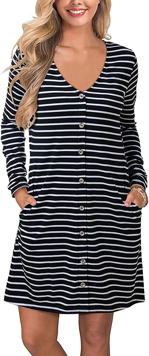 SOLERSUN Women's Casual T-Shirt Dresses Long Sleeve Tunic Loose Swing Dress with Pockets