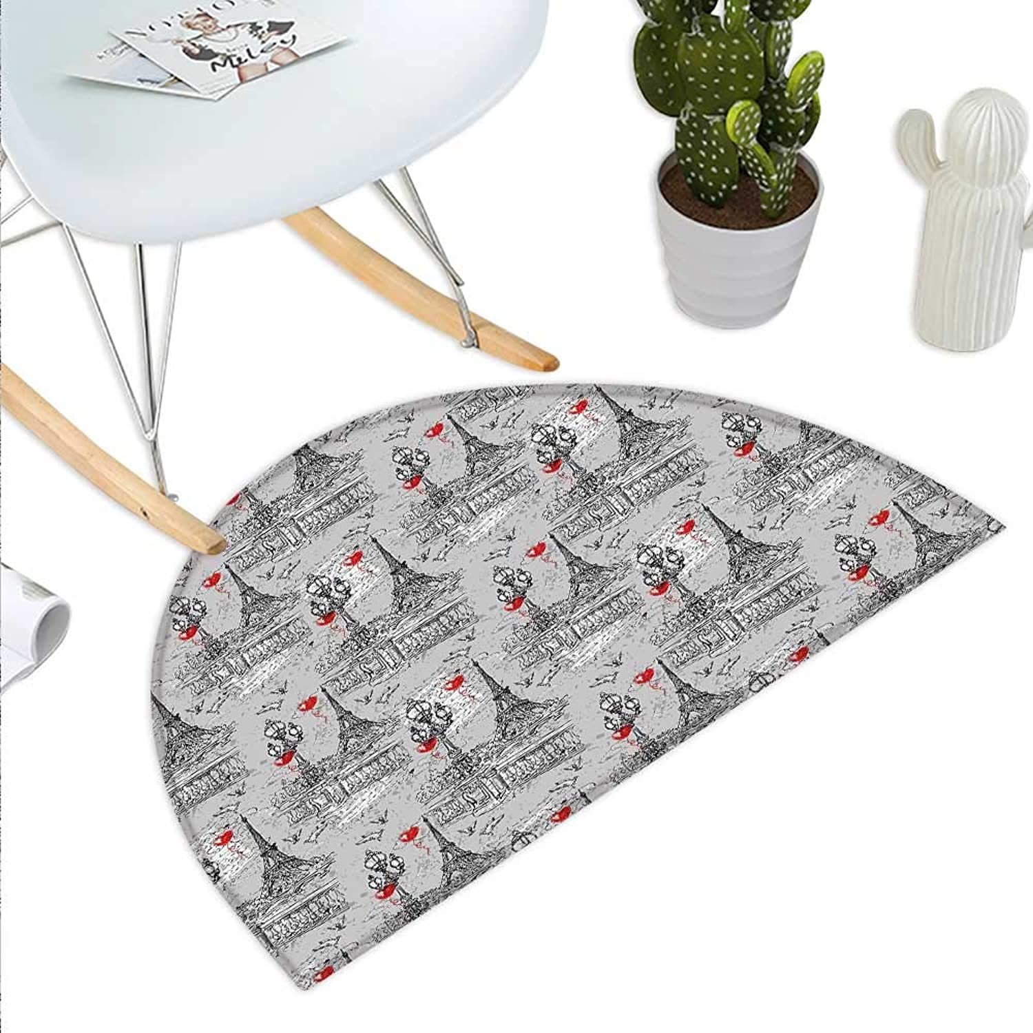 Eiffel Semicircle Doormat River Seine Lanterns and Doves on Vintage Style Drawing Style Artistic Backdrop Halfmoon doormats H 43.3  xD 64.9  Red Black Grey