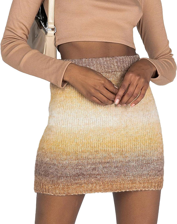 AvoDovA Women's High Waist Gradient Print Knitted Stretchy Short Mini Pencil Bodycon Skirt