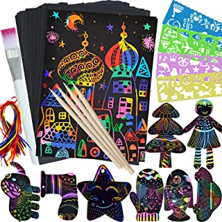 ZMLM Scratch Paper Art Set for Kids – 107 Pcs Rainbow Magic Scratch Off Arts and..