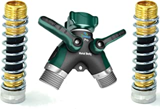 2wayz All Metal Body Garden Hose Splitter. Newly Upgraded (2017): 100% Secured, Bolted & Threaded. Easy Grip, Smooth Long Handles y Valve + 2 Kink Free 8cm Hose Savers