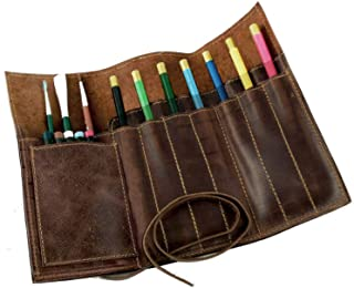 Rustic Art Brush Bag Genuine Leather Brown Pencil Roll Pouch Pen Case Holder Organizar Craft Color Brush Tool Bag for Artist Students Office Business Work GJB06