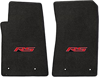 2pc Ebony Black Floor Mats Set with RS Logo in Red Fits 2010-2014 Chevy Camaro