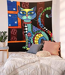 Sedef Yilmabasar Cats Artwork Paintings Wall Hanging Cats Tapestry Fabric Wallpaper Bedspread Home Decor,60
