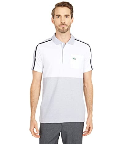 Lacoste Short Sleeve Two-Color Stripe Polo (Silver Chine/White/Navy Blue/Silver Chine) Men