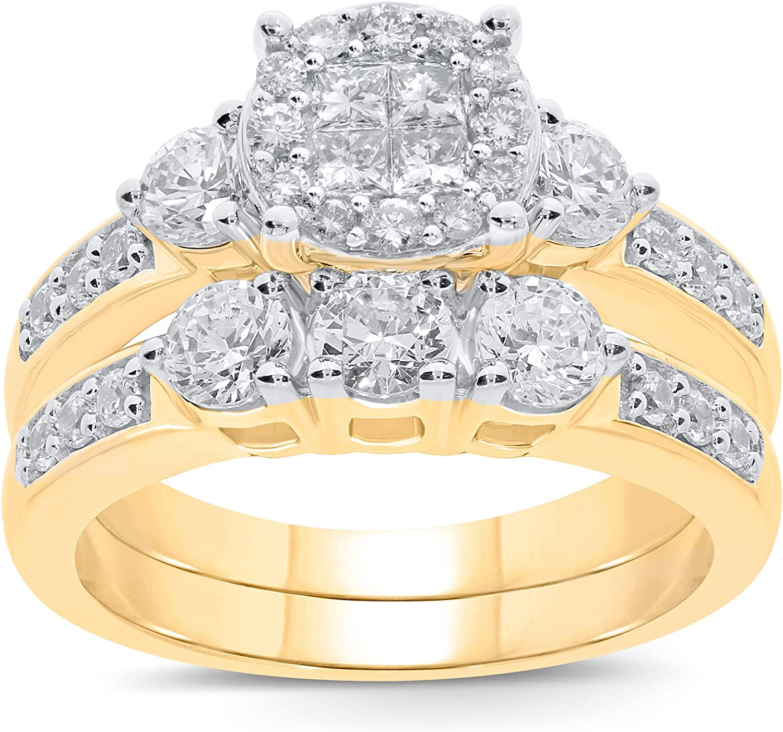 10K Yellow Gold 1.50 Carat Real Diamond Engagement Ring Wedding Band Bridal Set Fine Diamond Jewelry (1.50 Carat, H-I Color, I1-SI2 Clarity), Size 7