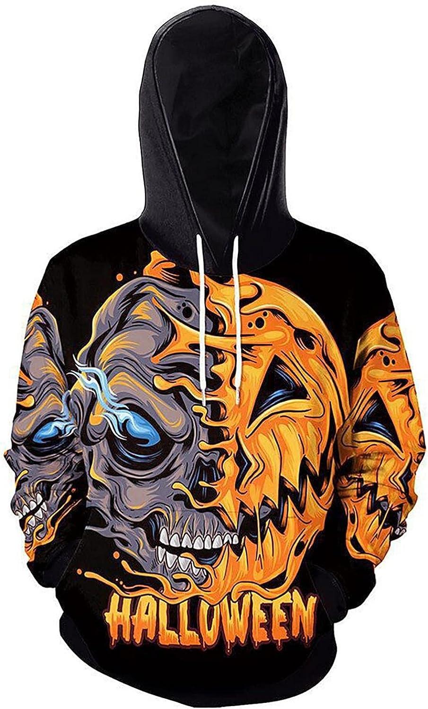 XUNFUN Mens Graphic Hoodies Halloween 3D Pumpkin Print Casual Long Sleeve Drawstring Pocket Hooded Sweatshirts Jumpers Tops