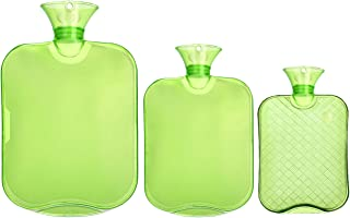 Attmu 3 Pack Classic Rubber Transparent Hot Water Bottles for 3 Different Sizes, 2 Liter, 1 Liter and 0.5 Liter - Green