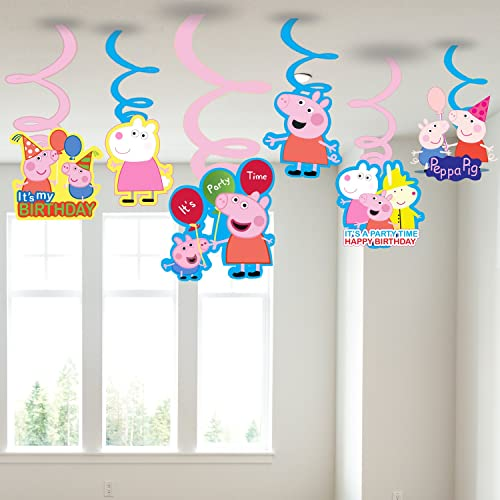 PARTY PROPZTM Peppa Pig Swirls Hanging Set Of 6 Party Supplies