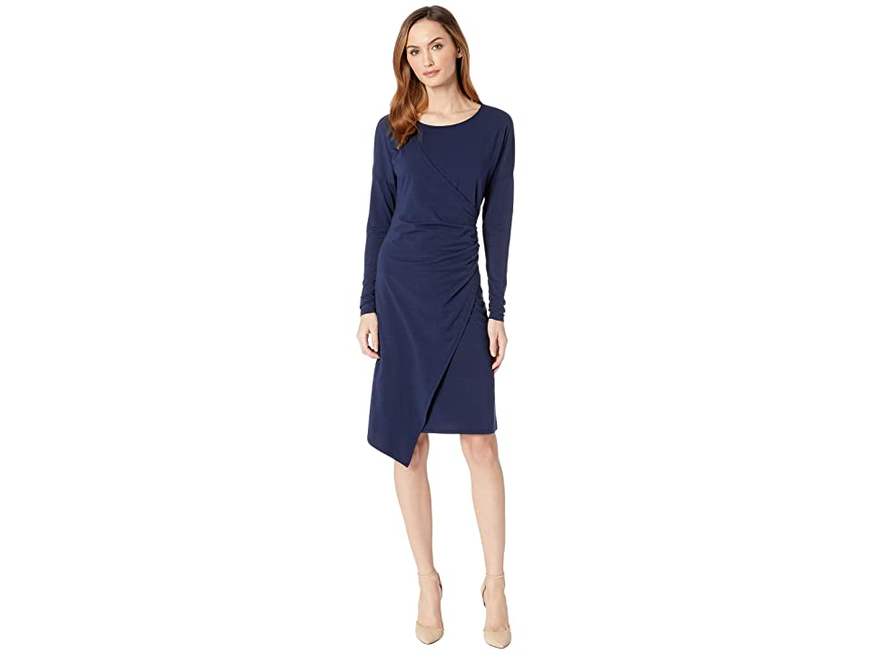 Mod-o-doc Cotton Modal Spandex Jersey Drop Shoulder Faux Wrap Dress (True Navy) Women