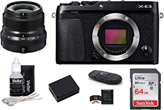 $769 » Fujifilm X-E3 Mirrorless Digital Camera with XF 23mm f/2 R WR Lens (Black) Bundle, Includes: SanDisk 64GB Memory Card + Power2000 Spare Battery + More (7 Items)