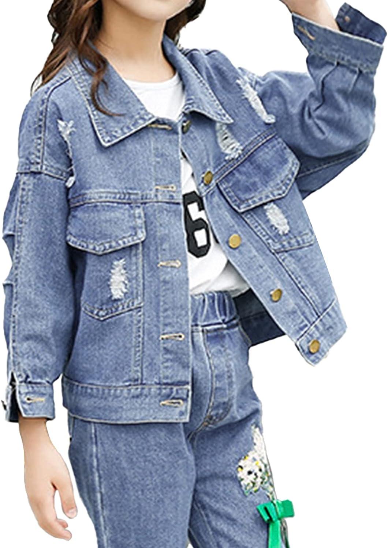 JanJean Kids Girls Ripped Denim Jacket Long Sleeve Flower Embroidery Vintage Denim Jackets Cowboy Coat Casual Wear