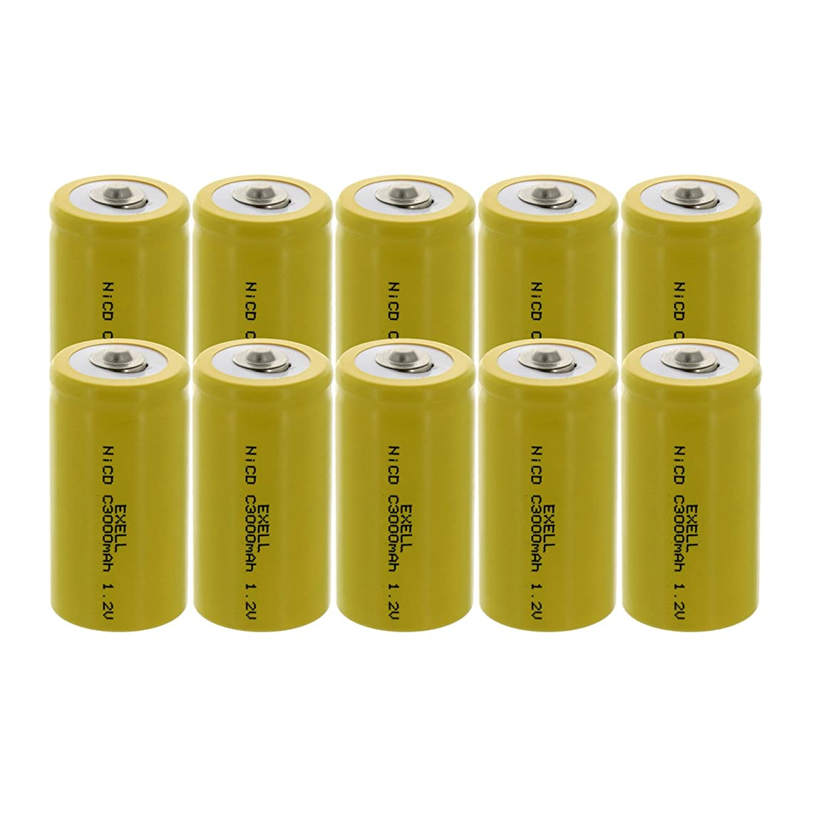 10x Exell C Size 1.2V 3000mAh NiCD Button Top Rechargeable Batteries for medical instruments/equipment, electric razors, toothbrushes, radio controlled devices, electric tools