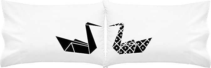 Oh, Susannah Kissing Origami Swans Pillowcase (2 Standard/Queen Size Pillow Cases) Couples Pillowcases