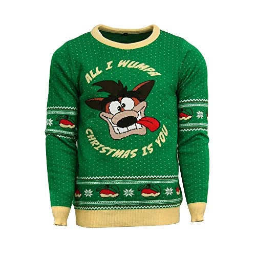 c6ee0f428a5508 Crash Bandicoot Official Christmas Jumper Ugly Sweater Green