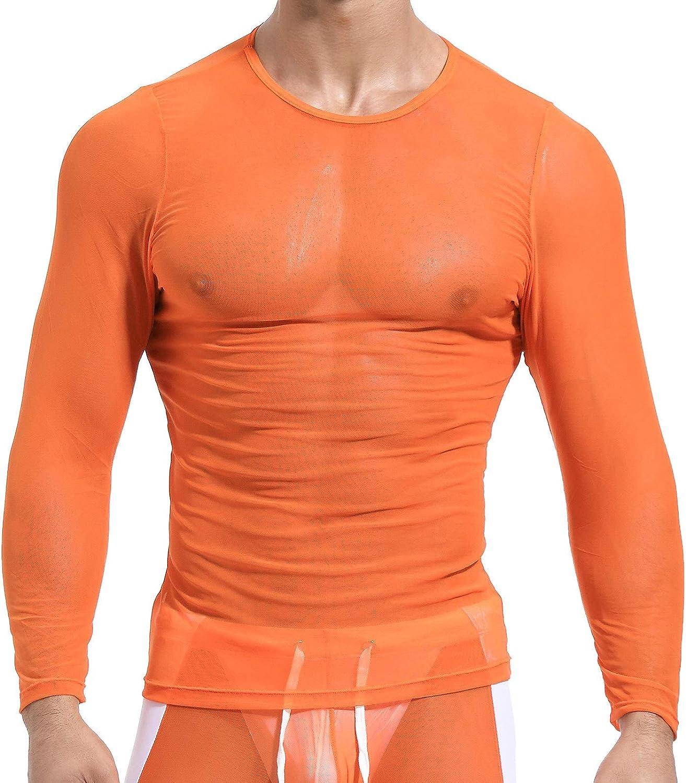 inhzoy Mens Sexy Mesh Sheer Transparent Long Sleeve Lace up Shirts Thermal Undershirt Vest Tank Top