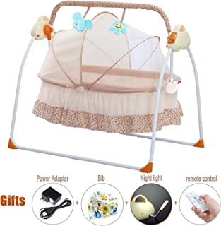 CBBAY Electric Cradle Baby Swing Bed Automatic Bassinet Baby Basket Newborn Crib Rocking Multifunction Music Cradle Baby Supplies Product (Yellow)